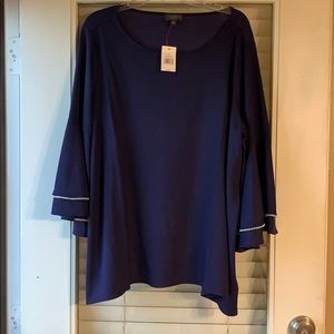 Blue blouse with pearl bell sleeves